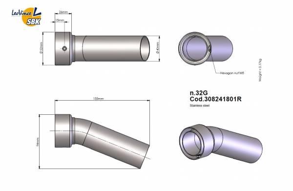 LeoVince DB-Eater No. 32G Außendurchmesser 52mm, Auslassdurchmesser 40mm
