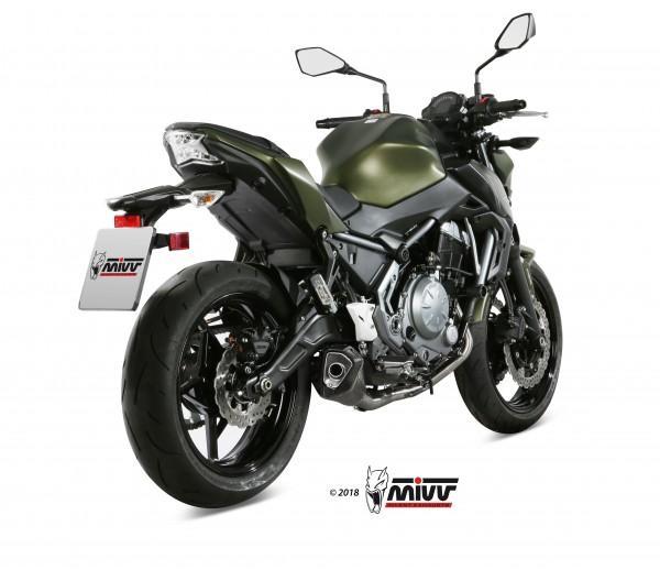 Sport Auspuff Komplettanlage MIVV Delta Race BLACK Kawasaki Z 650 Bj.2017-2021 EURO-4/EURO-5 +ABE