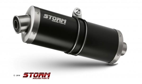 Sport Auspuff OVAL BLACK Storm by MIVV Suzuki DL V-Strom 1000 Typ: DD Bj. 2014-2018 EURO-3/EURO-4
