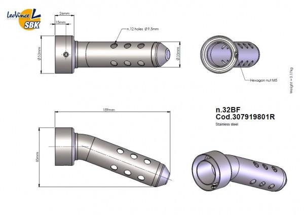 LeoVince DB-Eater No.32 BF - modifiziert - Außendurchmesser 52mm / Auslass 35mm, Ende geschlossen